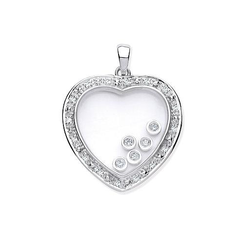 9ct White Gold Heart Diamond Pendant