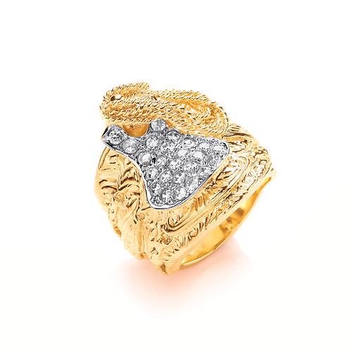 9ct Yellow Gold CZ Saddle Ring