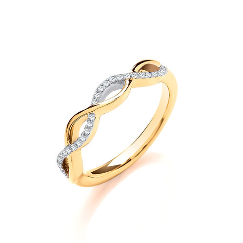 9ct Yellow Gold Entwined Diamond Ring