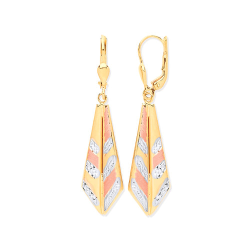 White & Yellow Gold Drop Earrings