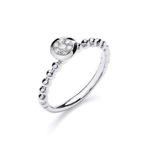 9ct White Gold Beaded Shank Ring