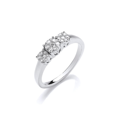 9ct White Gold Trilogy Diamond Ring