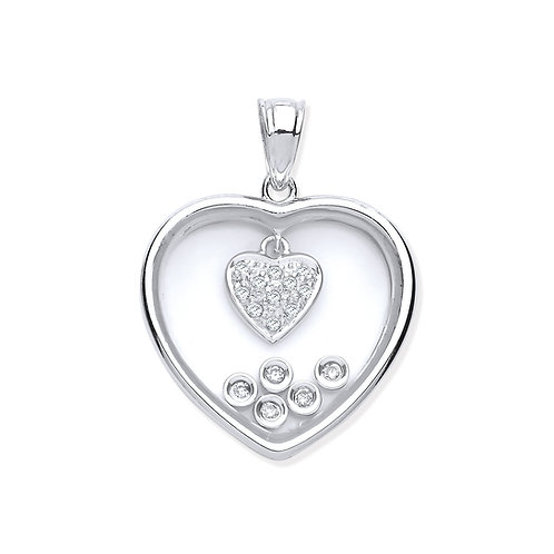 9ct White Gold Diamonds in a Heart Pendant