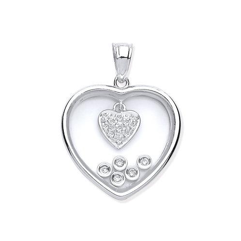9ct White Gold Diamonds in a Heart Pendant