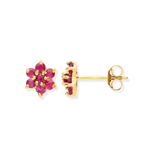 9ct Yellow Gold Ruby Flower Earrings