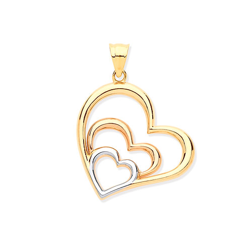 White, Rose & Yellow Gold Hearts Pendant