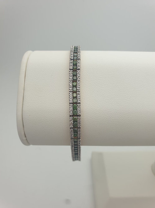 9ct Emerald and Diamond Tennis Bracelet