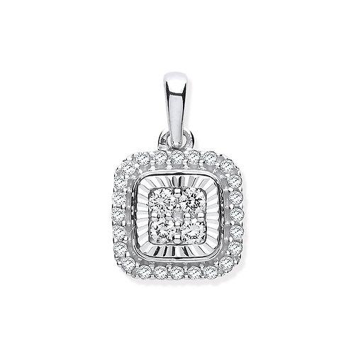 9ct White Gold Bezel Square Diamond Pendant