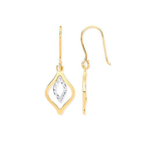 Yellow Gold Rhombus Hook Earrings