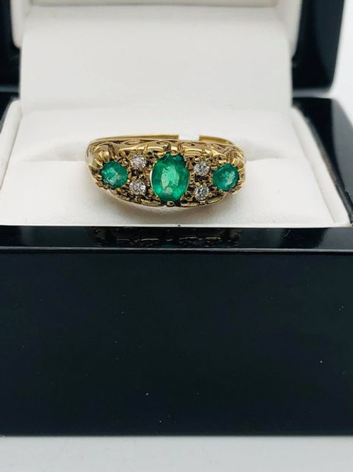 9ct Emerald and Diamond Ring