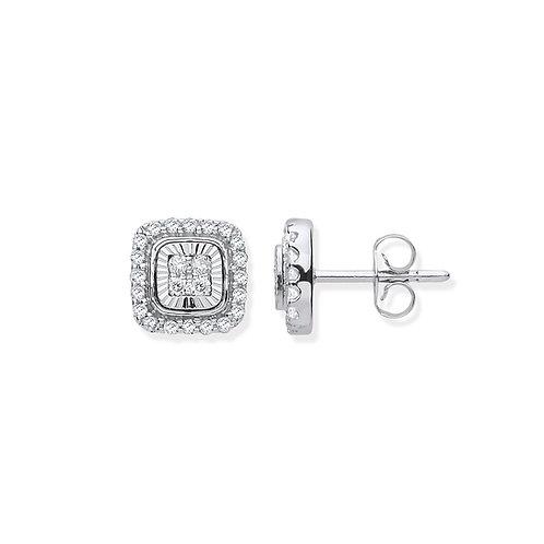 9ct Diamond Milled Bezel Earrings