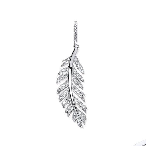 9ct White Gold Feather Diamond Pendant
