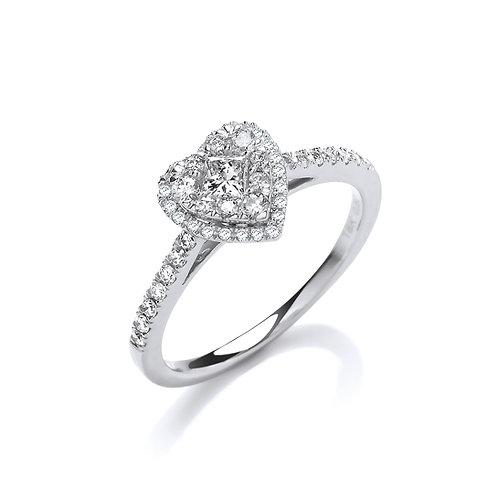 18ct Heart Shaped Dress Ring