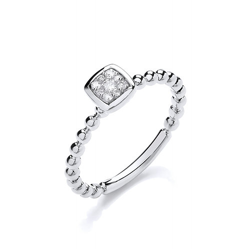9ct White Gold Beaded Square Shank Ring