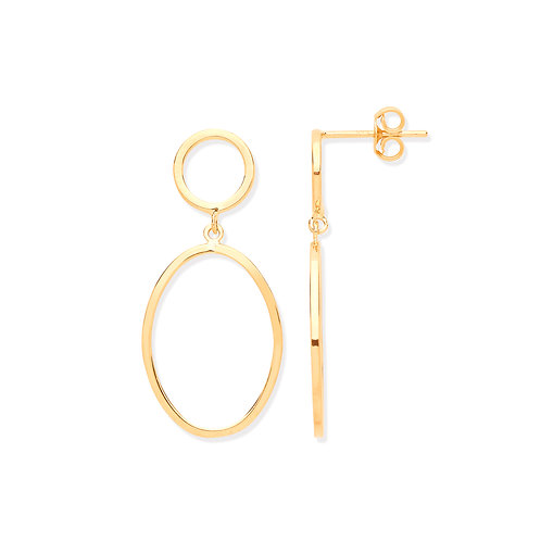 Yellow Gold Circle & Oval Earrings
