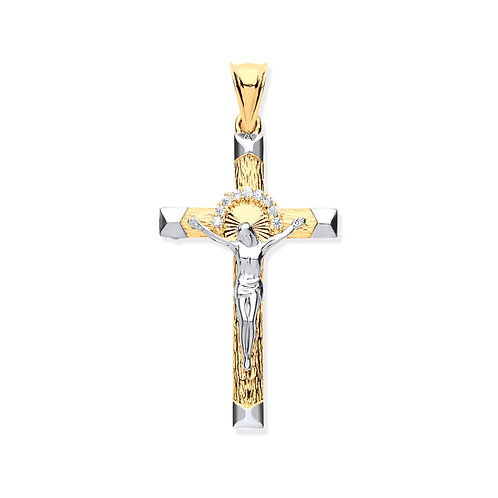 Yellow & White Gold Crucifix With Cubic Zirconias
