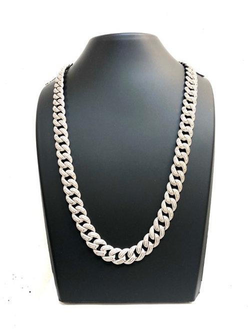 Silver Stone Set Curb Chain