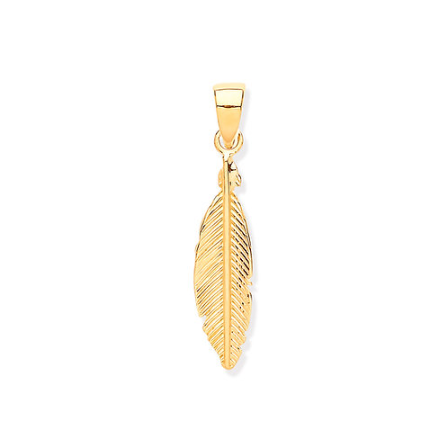 Yellow Gold Feather Leaf Pendant