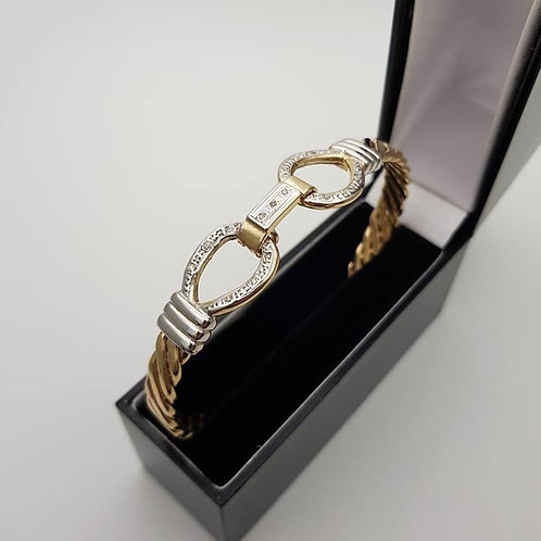 9ct gold diamond set hook bangle