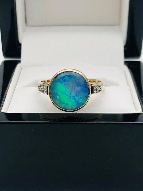 9ct Blue Opal Ring