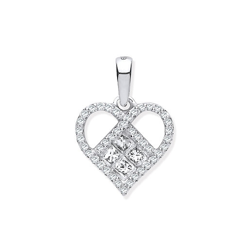 9ct White Gold Heart Diamond Pendant