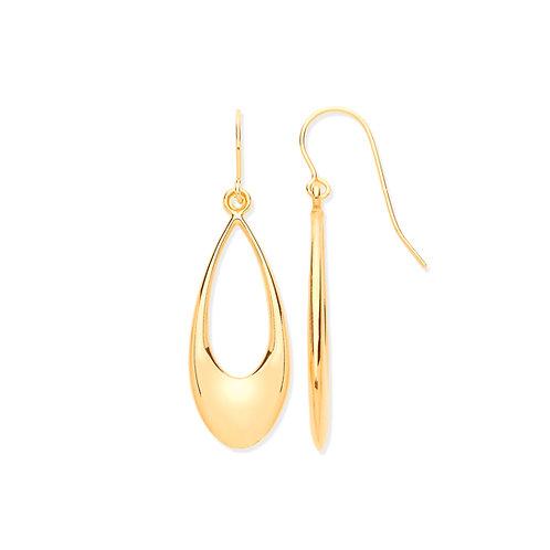 Yellow Gold Hollow Open Drop Earrings