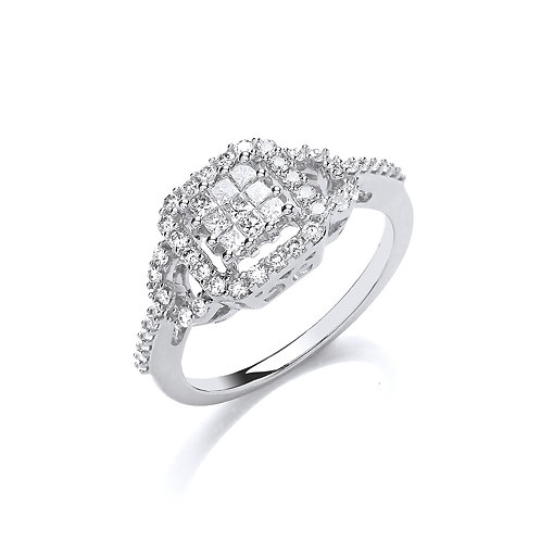 18ct White Gold Square Halo Ring
