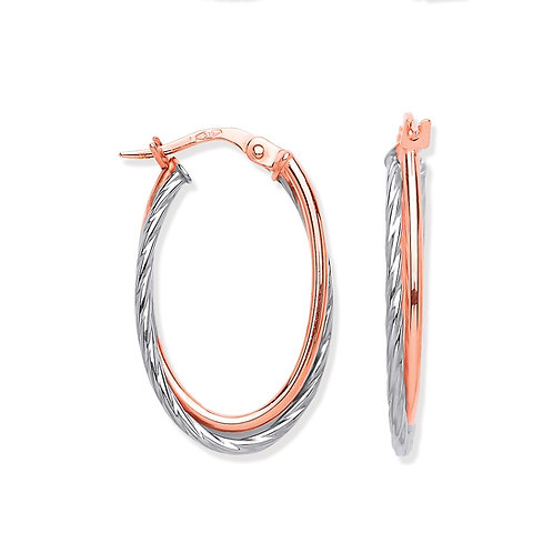 Rose Gold Tube & White Gold Twist Hoop Earrings