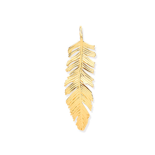Yellow Gold Feather Leaf Large Pendant