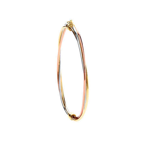 Yellow, White & Rose Gold Hollow Bangle.