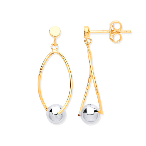 Yellow Gold With White Gold Ball Earrings