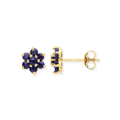 9ct Yellow Gold Sapphire Flower Earrings