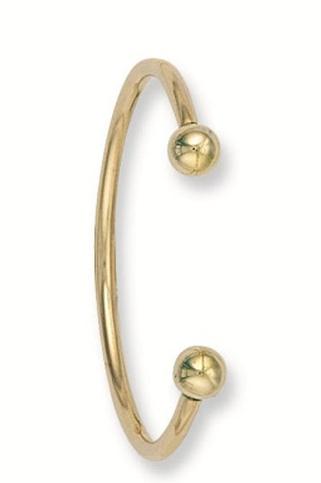 Solid yellow gold baby torque bangle