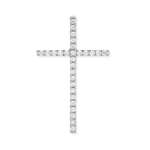 18ct White Gold Diamond Set Cross