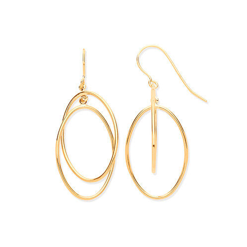 Yellow Gold Entwined Drop Earrings