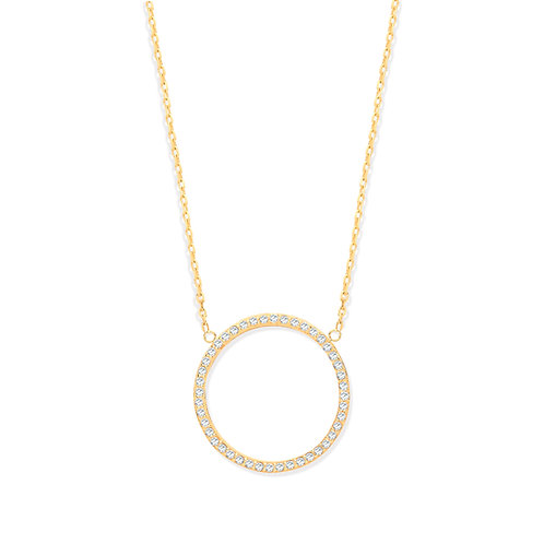 9ct Yellow Gold Circle of Life Cubic Zirconia Pendant