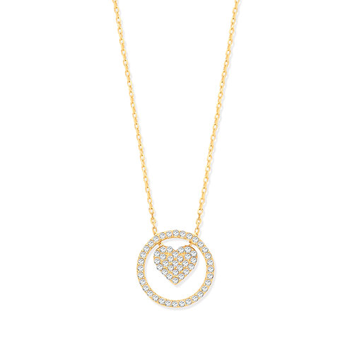 9ct Yellow Gold Heart Circle of Life Cubic Zirconia Pendant