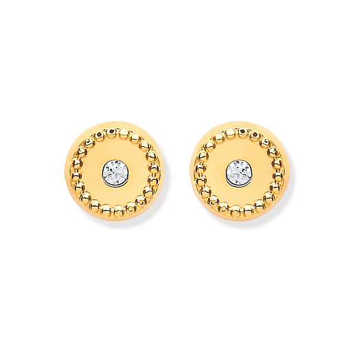 9ct Yellow Gold Ribbed Stud Earrings