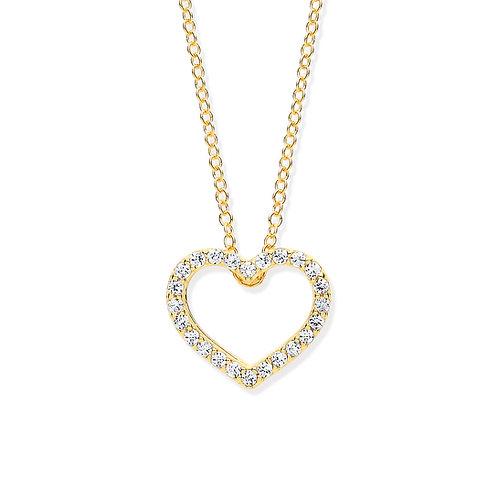 Yellow Gold CZ Heart Pendant