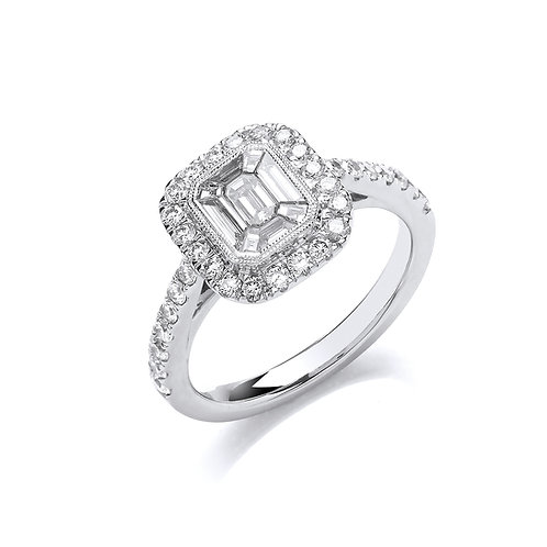 18ct White Gold Halo Style Ring