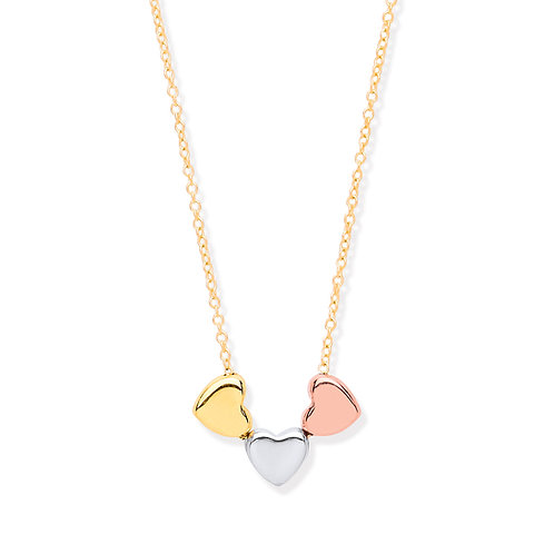 Yellow Gold Hollow 3 Colour Heart Belcher Chain