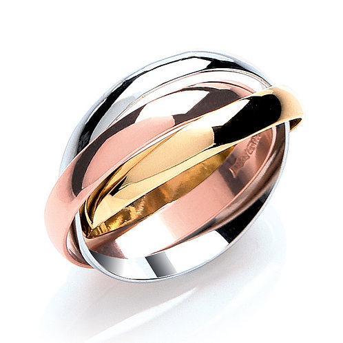 Yellow, White & Rose Gold 3mm Wedding Band