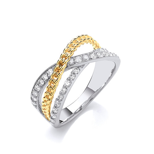 9ct White & Yellow Gold Diamond Ring