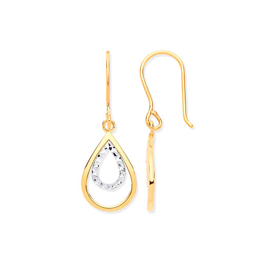 Yellow Gold Teardrop Hook Earrings