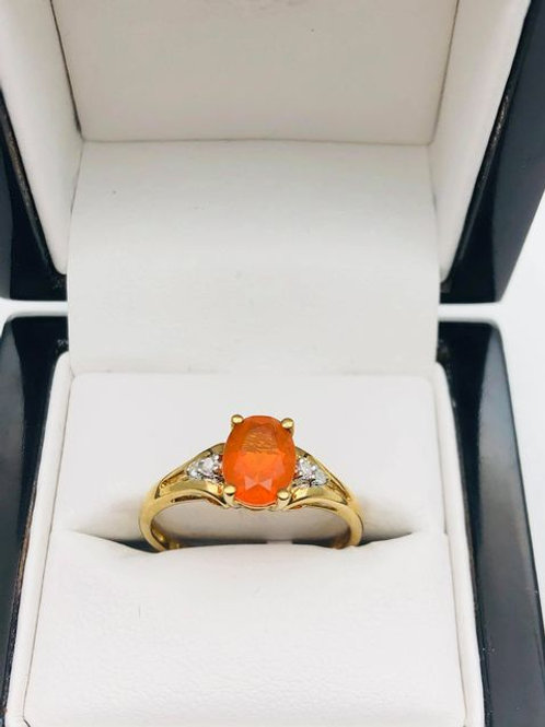 9ct Fire Opal and Diamond Ring