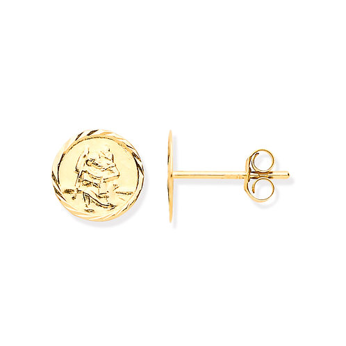 9ct Yellow Gold St Christopher Earrings