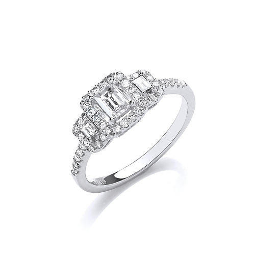 18ct White Gold Halo Trilogy Ring