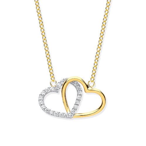 Yellow Gold CZ Hearts Pendant