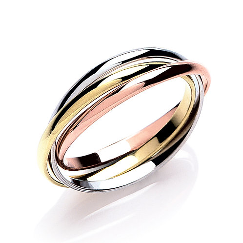 Yellow, White & Rose Gold 2mm Wedding Band