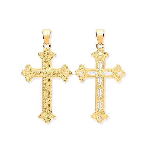 Yellow & White Gold Orthodox Cross